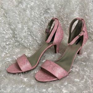 Pink Reptile Patterned Ankle Strap Sandal Heels